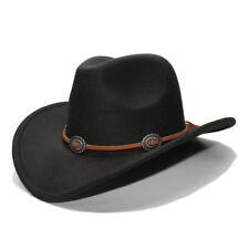 New Unisex Retro Western Style Wool Felt Cowboy Hat Hollow Wide Brim Cowgirl Cap