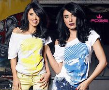 Foggi Damenshirt Longshirt Damentop T-Shirt Print Oberteil Bluse Shirt  XS-M