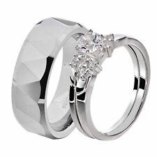 His & Hers White Stainless Steel Round CZ Wedding Sets Tungsten Men Band EW