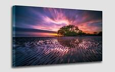 Quadro Moderno Sunset Alba sull'Oceano cm 50x90 Stampa su Tela Effetto Dipinto