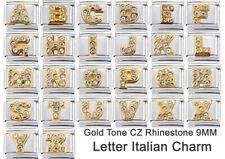 LETTER ITALIAN CHARM CZ RHINESTONES 1 x 9mm LINK - ABCDEFGHIJKLMNOPQRSTUVWXYZ