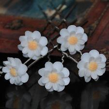 Juego de 5 Pasadores Floral Blanco Amarillo Adorno para Cabello Boda Peinado Pin