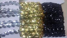 2 m Pailletten (€2,45/m) Band Borte 1 cm breit schwarz silber gold