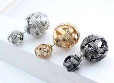 DOBLE Pendientes de perlas bola Talla & Pequeños Oro Plata