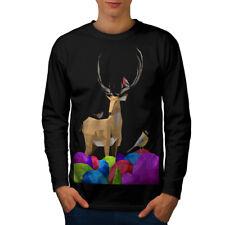 NATURA Geometrica Moda Uomo manica lunga T-shirt Nuove | wellcoda