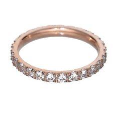 Titanium Rose Gold Plated Round Cubic Zirconia Eternity Band Women Wedding Ring