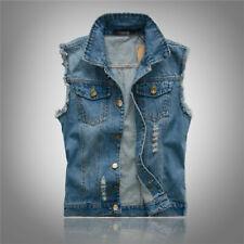 Big size M-5XL Mens Waistcoat Sleeveless Jacket Denim Vest Jeans Cowboy Weskit