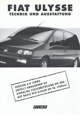 FIAT ULYSSE tecnica attrezzature auto PROSPEKT 8/97 prospetto brochure 1997 Italia