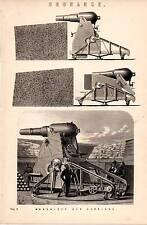 1868 PRINT ~ ORDNANCE ~ BIG GUNS THE MONCRIEFF GUN CARRIAGE