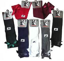 Girls / Kids Knee High Junior Girls School Socks With Bow, Ten Colors all sizes