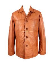 Stallion Tan Men's Hip Length Real Soft Lambskin Leather Coat Jacket