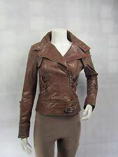 Ladies Light Brown Glaze Leather Zip Slim Tight Fitted Short Biker Jacket Bike