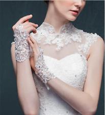 Elegant White Red Ivory  Wedding Gloves Lace Applique Short Rhinestone Bridal