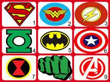 Personalised Edible Superhero Logos Cake Topper Icing or Wafer Paper