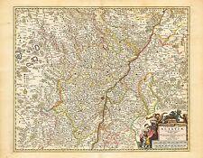 Vintage Old decorative map Lower Alsace Visscher 1690 paper or canvas