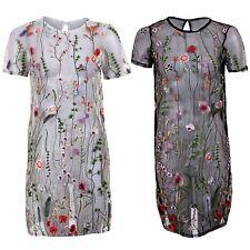 Para mujer ver a través de manga corta bordado Floral Malla Vestido De colección Recto