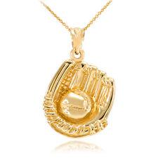 Fine Polished Gold Baseball Catcher Glove Pendant Necklace