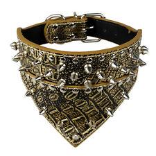 Dog Leather Collar NonSharp Spikes Bandana Studded Collar Gold Brown S M L XL