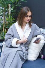 Luxury 100% Cotton Chenille Robe Bathrobe Dressing Gown Housecoat- Black Edition
