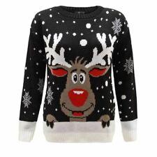 women's star Rudolph reindeer snowflakes novelty Christmas jumper black sweater