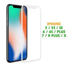IPHONE 5/5S/SE/ 6/6S PLUS X / 7 / 8 PELLICOLA VETRO  3D BIANCO O NERO [2 PEZZI]