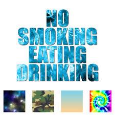 No Smoking Eating Drinking - Decal Sticker - Multiple Patterns & Sizes - ebn3465