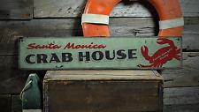 Crab, Custom Beach Location Seafood - Rustic Distressed Wood Sign ENS1001321