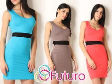 Sexy & Elegant Women's Dress Sleeveless Scoop Neck Tunic Bodycon Size 8-12 8957