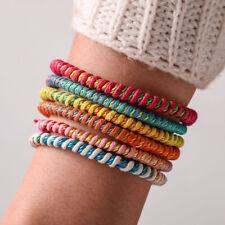 Trendy Handmade Braided Wax Rope Bracelet Multicolor Woven Friendship Bangle