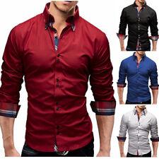 Mens Fashion Casual Luxury Dress Button Down Slim Fit Long Sleeves Shirts WS6453