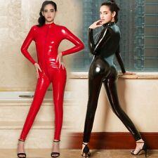 Faux Leather Lingerie Jumpsuit Women PVC Teddy Body Suits Gothic Catsuit Wetlook