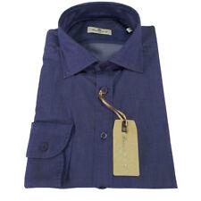 BRANCACCIO camicia uomo colore denim dyed 100 % cotone leggero vestibilità slim