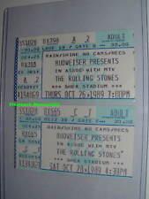 2 ROLLING STONES 1989 Concert Ticket Stub Lot SHEA STADIUM New York VERY RARE