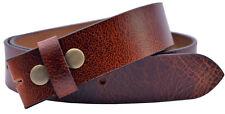 Full Grain Buffalo Leather Belt Strap in Crunch Finish - Red Brown