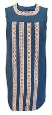 Ladies Blue 60s Look Retro Lace Front Dress