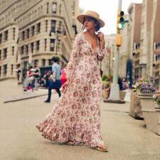 2017 Bohemia Womens Floral V Neck Lantern Sleeve Beach Long Maxi Pleated Dress