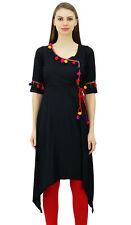 Phagun Angrakha Style Rayon Womens Long Tunic  Kurta Pom-Pom Kurti Top Clothing