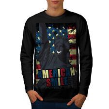 American Liberty Bandiera USA Uomo Manica Lunga T-shirt Nuove | wellcoda