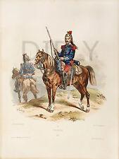 PLAQUE ALU DECO LITHOGRAPHIE ARMEE FRANCAISE DRAGON 1875 LALAISSE CHEVAL FUSIL
