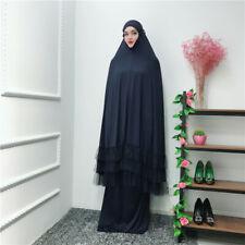 Women Prayer Hijab Dress Dubai Muslim Khimar Jilbab Overhead 2 Piece