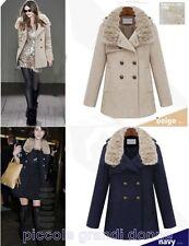 Cappotto giacca Giubbino Giubbotto da donna colletto pelliccia rimovibile C9120