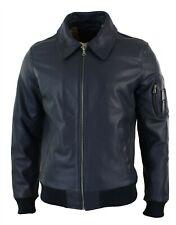 NOORA Mens Genuine Real Leather Harrington Bomber Blue Classic Pilot MOD  - M6