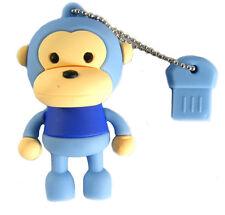 USB 2.0 FLASH DRIVE MEMORY STICK 4GB USB MONKEY BLUE WINDOWS MAC LINUX