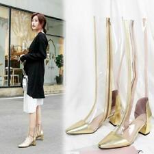 Transparent Womens Summer Knee High Boots Block Mid Heel Rubber High Top Shoes