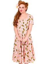 Banned Damen Kleid Rockabilly Rockabella Rosa Ananas Tiki Petticoatkleid 5000