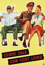 2w46 VINTAGE SECONDA GUERRA MONDIALE linguaggio sconclusionato può costare delle vite umane GUERRA WAR POSTER WW2 re-print A4