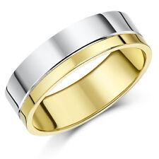 9 Karat zweifarbig Hochzeit Ring Gold schwer flachgericht Ehering 4mm,6mm