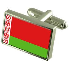 Belarus Flag Cufflinks Tie Clip Lapel Badge Engraved Gift Set WFC066