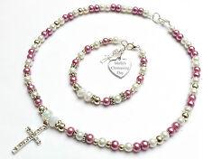 Engraved Heart Christening First Holy Communion Baptism Gift Necklace Bracelet