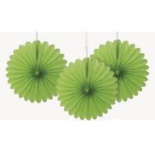 Vert Citron Mini Ventilateurs 3pk Papier Décoration pour Fête Marriage Baptême